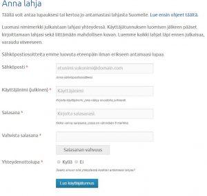 rekisteroityminen lahja suomelle -sivustolle